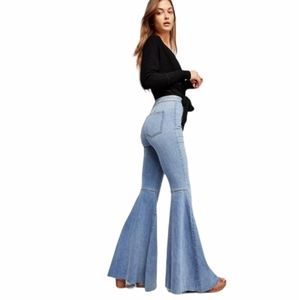 FREE PEOPLE just float on flare light blue jeans